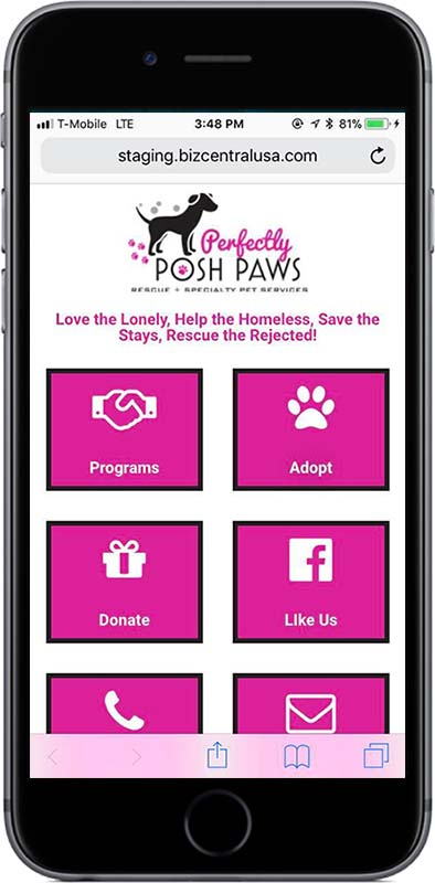 Mobile Landing Page Perfectly Posh Paws